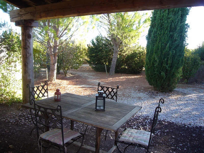 terrasse ombragée et jardin